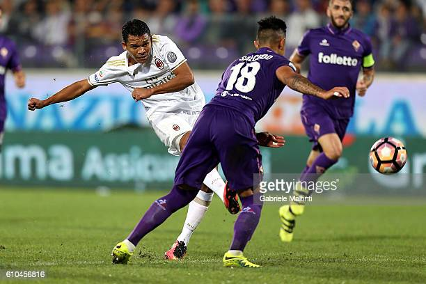 Carlos Bacca of AC Milan in action during the Serie A match between ACF Fiorentina and AC Milan at Stadio Artemio Franchi on September 25 2016 in...