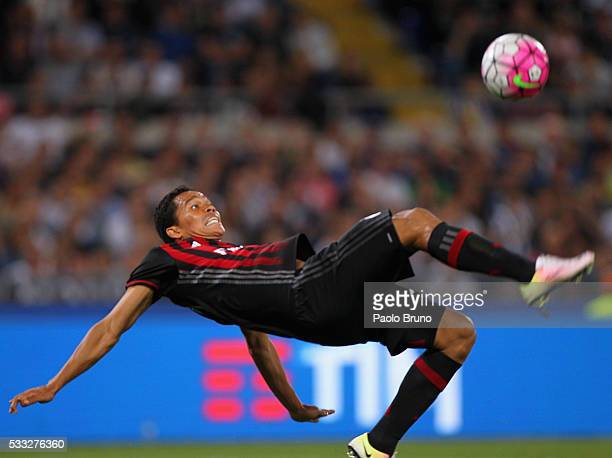Carlos Bacca of AC Milan in action during the TIM Cup final match between AC Milan and Juventus FC at Stadio Olimpico on May 21 2016 in Rome Italy