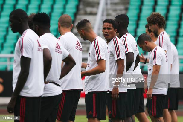 Carlos Bacca of AC Milan looks on duirng training session ahead of the 2017 International Champions Cup football match between AC milan and Borussia...