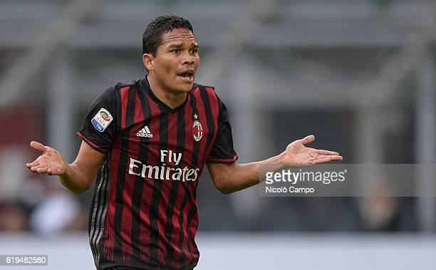 Carlos Bacca of AC Milan reacts the Serie A match between AC Milan and Pescara Calcio at Stadio Giuseppe Meazza on October 30 2016 in Milan Italy