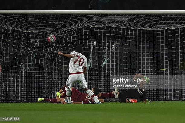 Carlos Bacca of AC Milan scores the opening goal during the Serie A match between Torino FC and AC Milan at Stadio Olimpico di Torino on October 17...