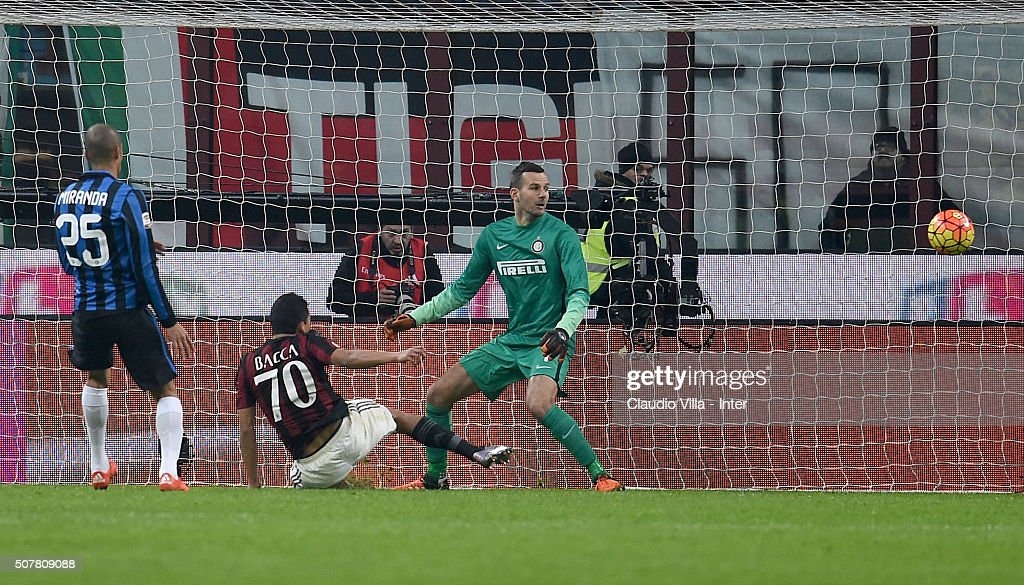 Carlos Bacca of AC Milan #70 scores the third goal during the Serie A match between AC Milan and FC Internazionale Milano at Stadio Giuseppe Meazza on January 31, 2016 in Milan, Italy.
