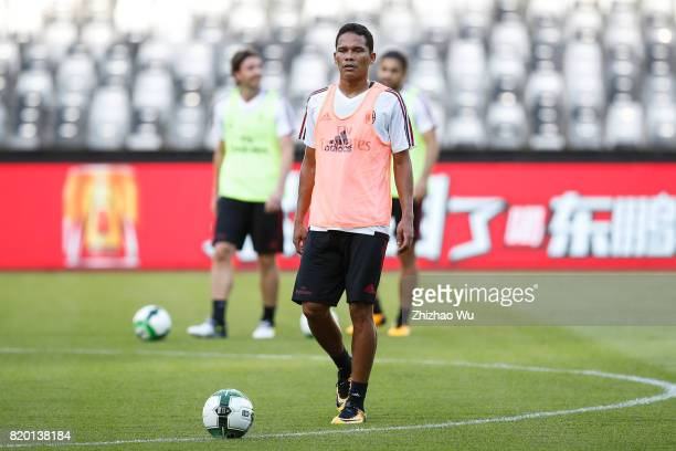 Carlos Bacca of AC Milan was training at Universiade Sports Centre Stadium on July 21 2017 in Shenzhen China