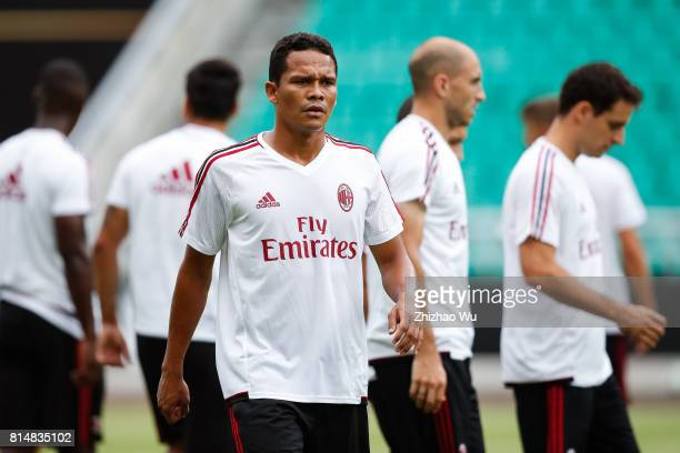 Carlos Bacca of AC Milan was training at University Town Sports Centre Stadium on July 15 2017 in Guangzhou China