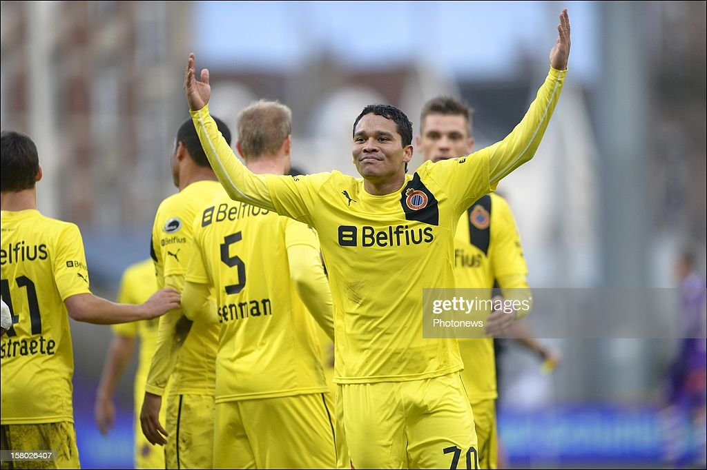 Carlos Bacca of Club Brugge KV celebrates scoring a goal during the Jupiler League match between Beerschot AC and Club Brugge on December 09, 2012 in the Kiel Stadium in Antwerpen, Belgium.