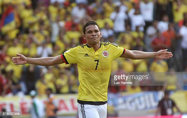 Carlos Bacca of Colombia celebrates after scoring during a match between Colombia and Ecuador as part of FIFA 2018 World Cup Qualifiers at Roberto...
