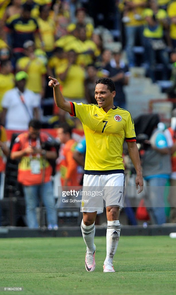Carlos Bacca of Colombia celebrates after scoring the opening goal during a match between Colombia and Ecuador as part of FIFA 2018 World Cup...