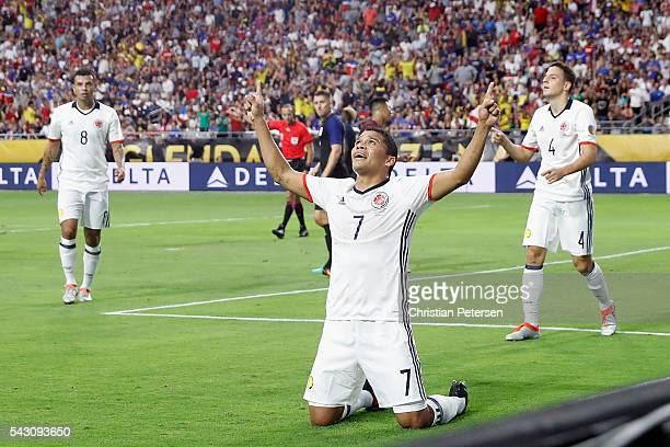 Carlos Bacca of Colombia celebrates his first half goal against the United States during the 2016 Copa America Centenario third place match at...
