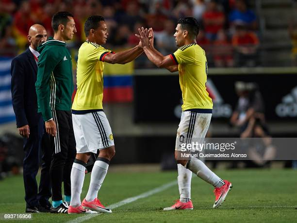 Carlos Bacca of Colombia comes on as a second half substitute for Radamel Falcao of Colombia during the international friendly match between Spain...