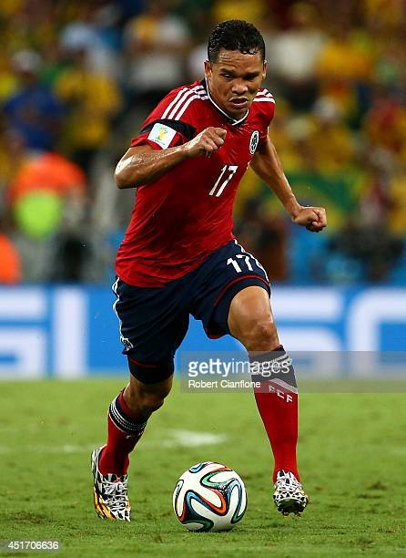 Carlos Bacca of Colombia controls the ball during the 2014 FIFA World Cup Brazil Quarter Final match between Brazil and Colombia at Castelao on July...
