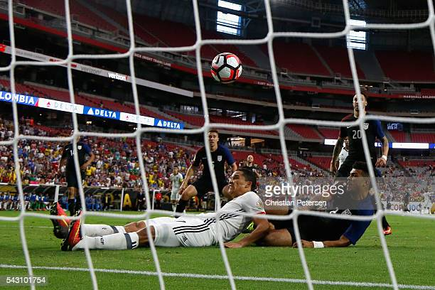 Carlos Bacca of Colombia scores a first half goal past DeAndre Yedlin of United States during the 2016 Copa America Centenario third place match at...