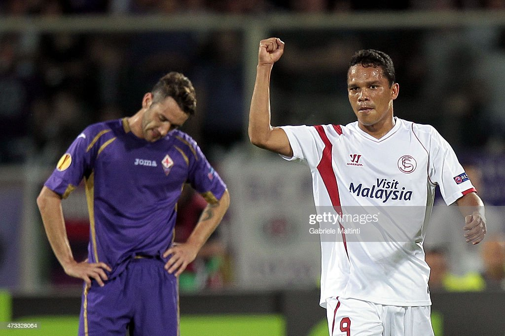 Carlos Bacca of FC Sevilla celebrates after scoring a goal during the UEFA Europa League Semi Final match between ACF Fiorentina and FC Sevilla on...
