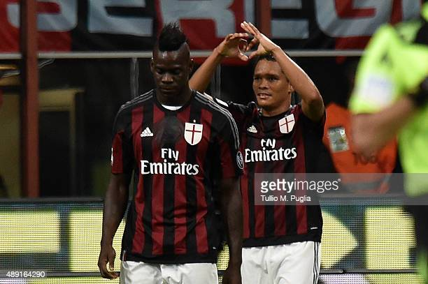 Carlos Bacca of Milan celebrates after scoring his team's third goal during the Serie A match between AC Milan and US Citta di Palermo at Stadio...