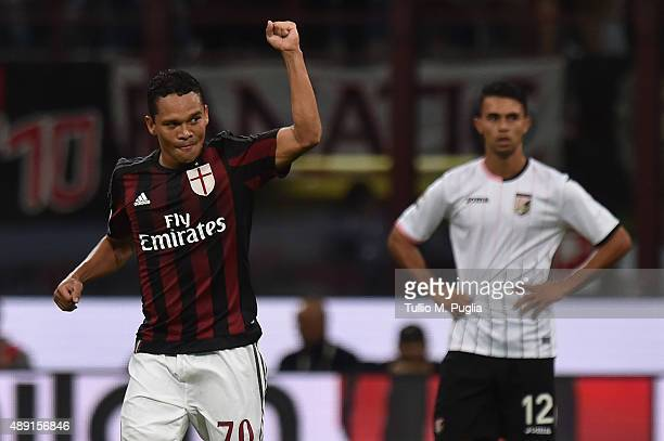 Carlos Bacca of Milan celebrates after scoring the opening goal during the Serie A match between AC Milan and US Citta di Palermo at Stadio Giuseppe...