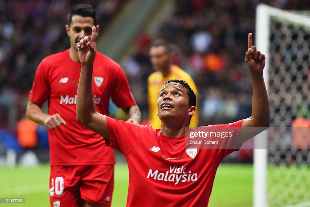 Carlos Bacca of Sevilla celebrates scoring his team's second goal during the UEFA Europa League Final match between FC Dnipro Dnipropetrovsk and FC...
