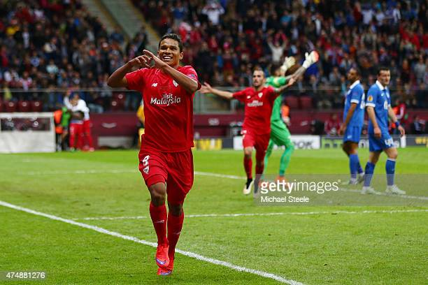Carlos Bacca of Sevilla celebrates scoring his team's third goal during the UEFA Europa League Final match between FC Dnipro Dnipropetrovsk and FC...