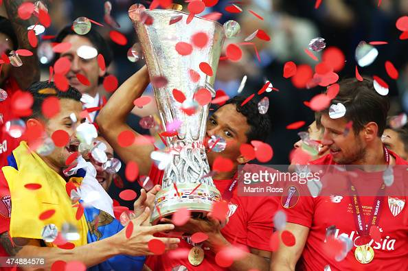 Carlos Bacca of Sevilla celebrates victory with the trophy after the UEFA Europa League Final match between FC Dnipro Dnipropetrovsk and FC Sevilla...