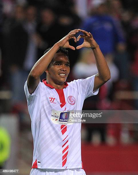 Carlos Bacca of Sevilla FC celebrates after scoring Sevilla's 2nd goal during the UEFA Europa League Semi Final first leg match between Sevilla FC...