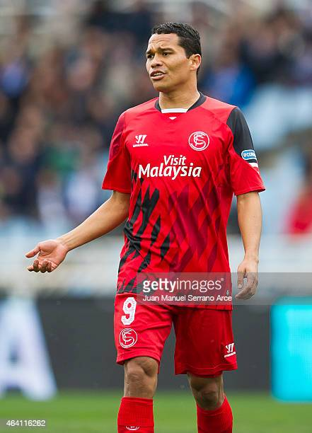 Carlos Bacca of Sevilla FC reacts during the La Liga match between Real Sociedad and Sevilla FC at Estadio Anoeta on February 22 2015 in San...