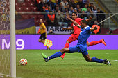 Carlos Bacca of Sevilla scores his team's second goal during the UEFA Europa League Final match between FC Dnipro Dnipropetrovsk and FC Sevilla on...
