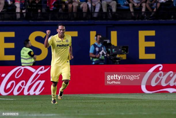09 Carlos Bacca of Villarreal CF celebrate after scoring the 11 goal during spanish La Liga match between Villarreal CF and Real Betis Balompie at La...