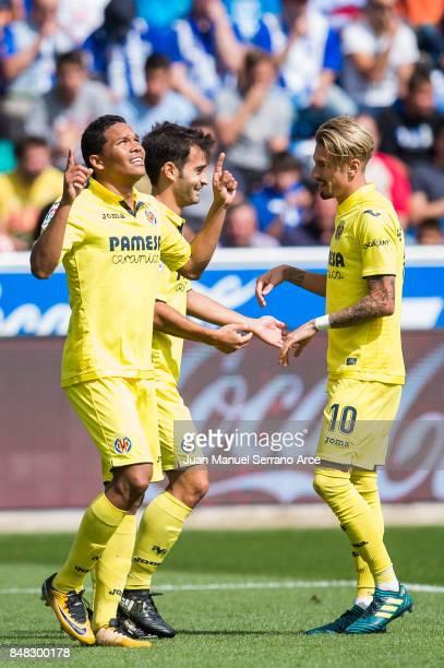 Carlos Bacca of Villarreal CF celebrates after scoring his team's second goal during the La Liga match between Deportivo Alaves and Villarreal CF at...