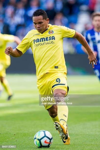 Carlos Bacca of Villarreal CF controls the ball during the La Liga match between Deportivo Alaves and Villarreal CF at Mendizorroza stadium on...