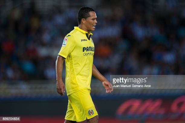 Carlos Bacca of Villarreal CF reacts during the La Liga match between Real Sociedad de Futbol and Villarreal CF at Estadio Anoeta on August 26 2017...