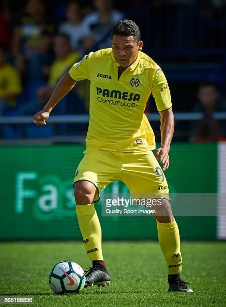 Carlos Bacca of Villarreal in action during the La Liga match between Villarreal and Las Palmas at Estadio De La Ceramica on October 22 2017 in...