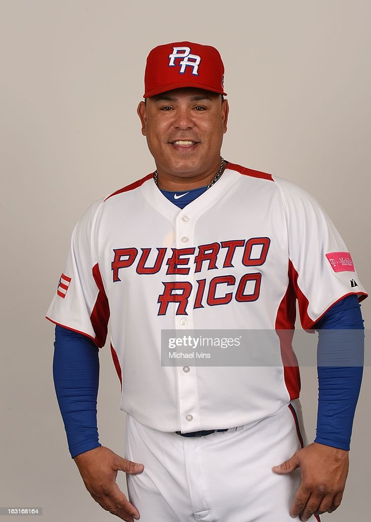 Carlos Baerga #9 of Team Puerto Rico poses for a headshot for the 2013 World Baseball Classic at the City of Palms Baseball Complex on Monday, March 4, 2013 in Fort Myers, Florida.