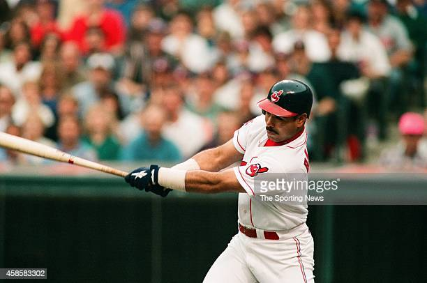 Carlos Baerga of the Cleveland Indians bats against the Texas Rangers at Progressive Field on May 17 1996 in Cleveland Ohio