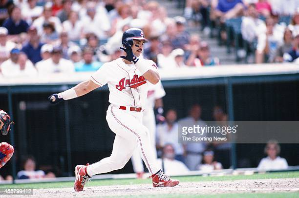 Carlos Baerga of the Cleveland Indians bats against the Texas Rangers at Progressive Field on May 19 1996 in Cleveland Ohio