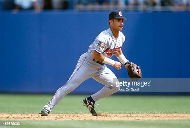Carlos Baerga of the Cleveland Indians in action against the New York Yankees during an Major League Baseball game circa 1994 at Yankee Stadium in...