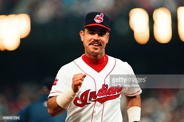 Carlos Baerga of the Cleveland Indians runs against the Detroit Tigers at Comerica Park on May 16 1996 in Detroit Michigan