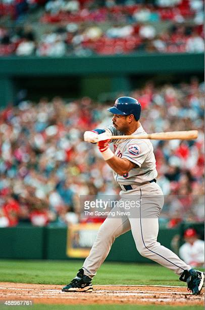 Carlos Baerga of the New York Mets bats against the St Louis Cardinals at Busch Stadium on May 9 1997 in St Louis Missouri The Mets beat the...