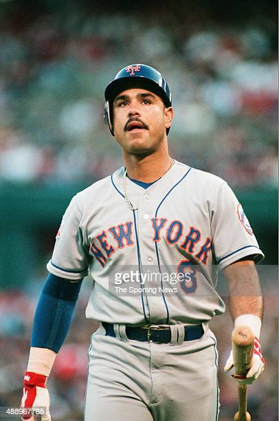 Carlos Baerga of the New York Mets looks on against the St Louis Cardinals at Busch Stadium on May 9 1997 in St Louis Missouri The Mets beat the...