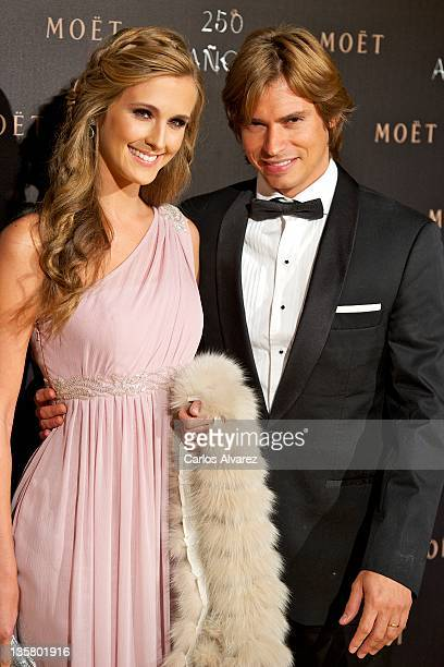 Carlos Baute and Astrid Klisans attend Moet Chandon 250 Anniversary party at the French Embassy on December 14 2011 in Madrid Spain