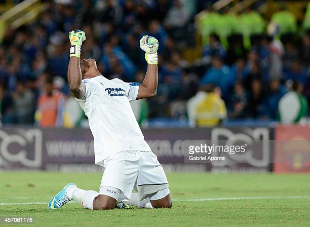 Carlos Bejarano goalkeeper of Independiente Medellin celebrates a goal of his team during a match between Millonarios and Independiente Medellin as...