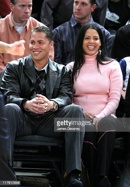 Carlos Beltran and wife Jessica during Celebrities Attend Phoenix Suns vs New York Knicks Game January 25 2005 at Madison Square Garden in New York...