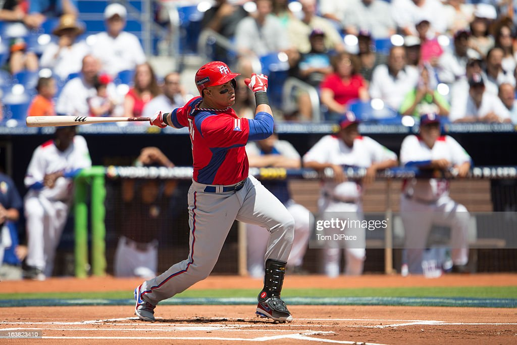 Carlos Beltran #15 of Team Puerto Rico bats during Pool 2, Game 6 against Team Dominican Republic in the second round of the 2013 World Baseball Classic on Saturday, March 16, 2013 at Marlins Park in Miami, Florida.