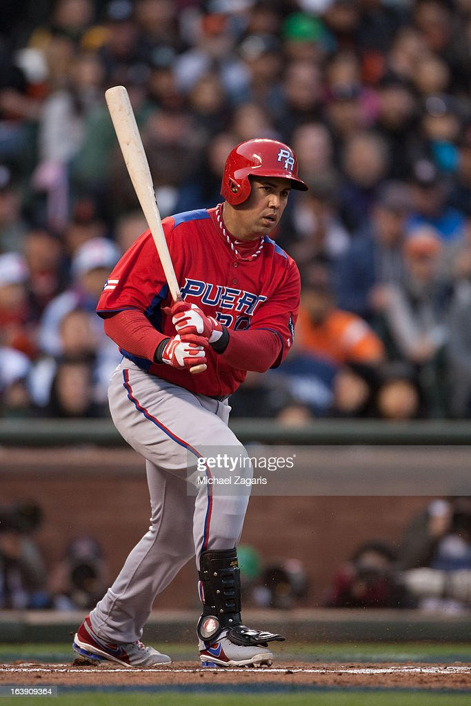 Carlos Beltran #15 of Team Puerto Rico bats during the semi-final game against Team Japan in the championship round of the 2013 World Baseball Classic on Sunday, March 17, 2013 at AT&T Park in San Francisco, California.