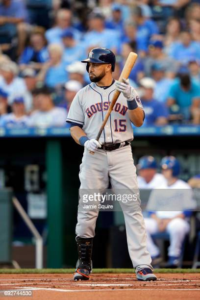 Carlos Beltran of the Houston Astros bats during the game against the Kansas City Royals at Kauffman Stadium on June 5 2017 in Kansas City Missouri