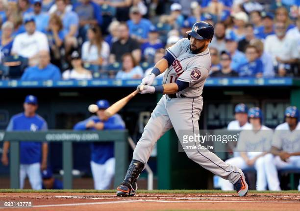 Carlos Beltran of the Houston Astros bats during the game against the Kansas City Royals at Kauffman Stadium on June 6 2017 in Kansas City Missouri