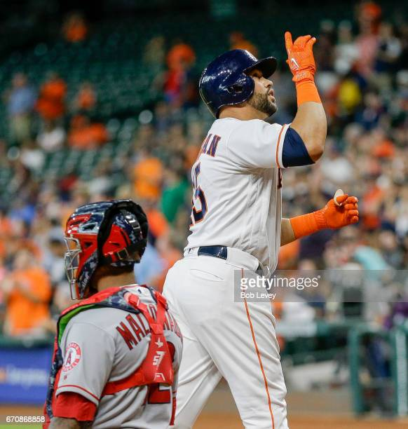 Carlos Beltran of the Houston Astros celebrates his home run in the first inning against the Los Angeles Angels of Anaheim at Minute Maid Park on...