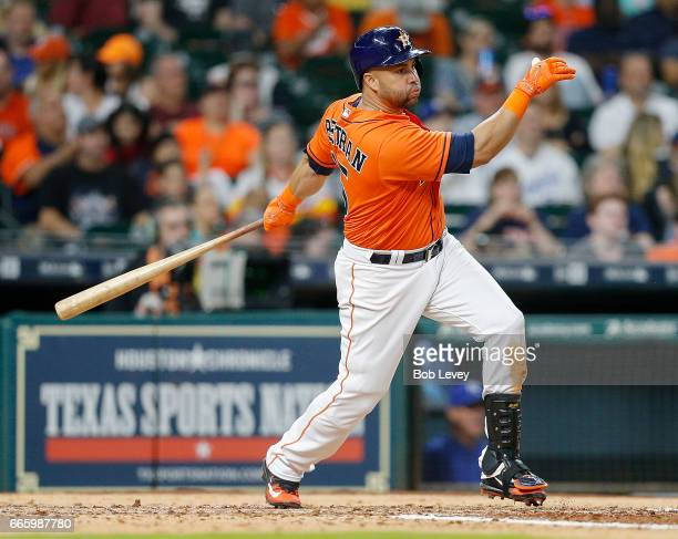 Carlos Beltran of the Houston Astros doubles in the seventh inning against the Kansas City Royals at Minute Maid Park on April 7 2017 in Houston Texas
