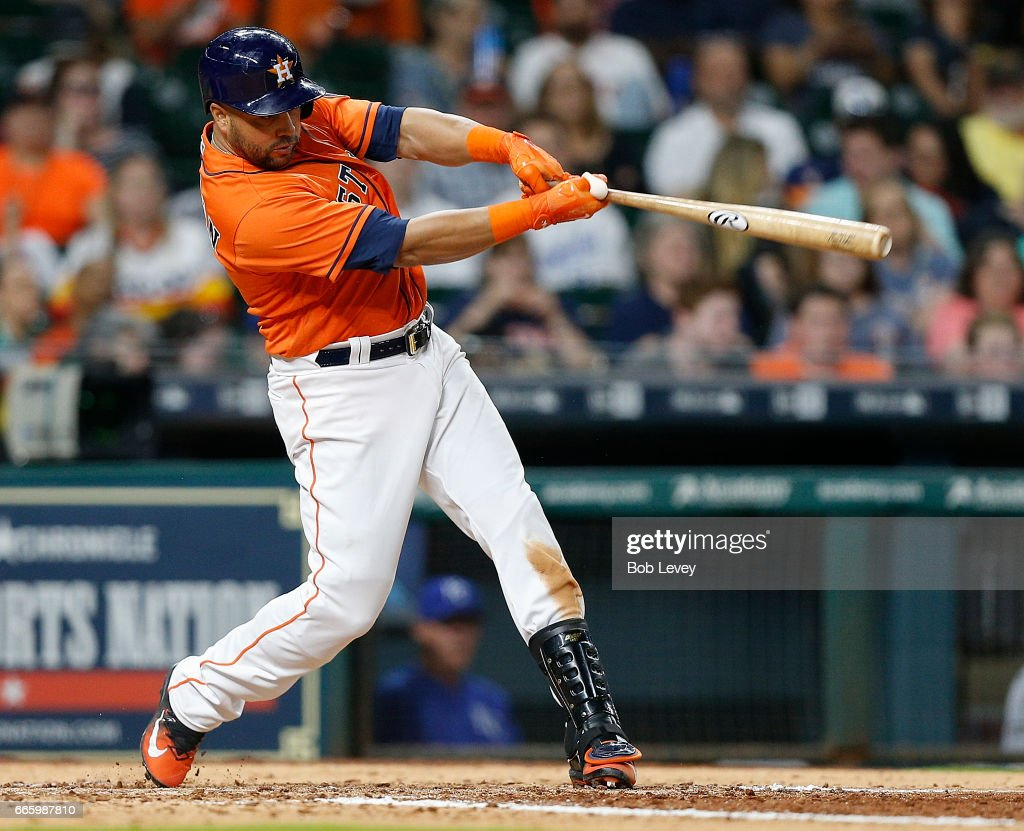 Carlos Beltran #15 of the Houston Astros doubles in the seventh inning against the Kansas City Royals at Minute Maid Park on April 7, 2017 in Houston, Texas.