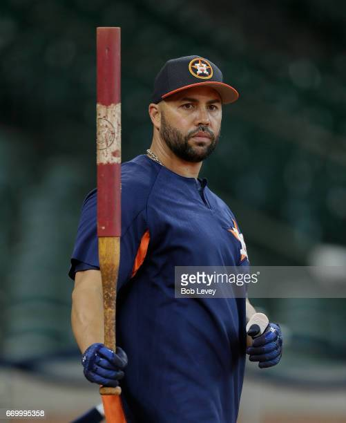 Carlos Beltran of the Houston Astros during batting practice before playing the Los Angeles Angels of Anaheim at Minute Maid Park on April 18 2017 in...