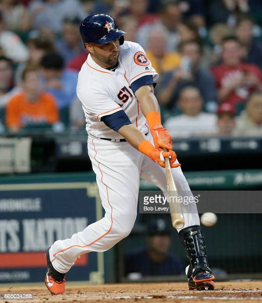 Carlos Beltran of the Houston Astros grounds out in the second inning against the Seattle Mariners at Minute Maid Park on April 5 2017 in Houston...