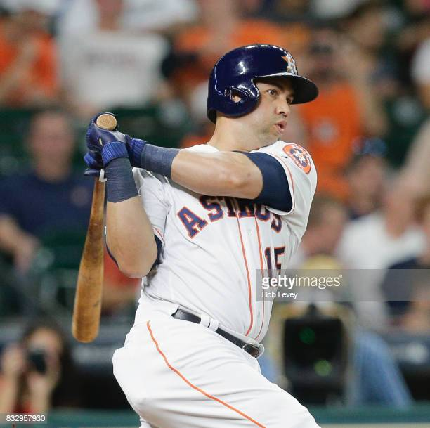 Carlos Beltran of the Houston Astros hits a home run against the Arizona Diamondbacks in the second inning at Minute Maid Park on August 16 2017 in...