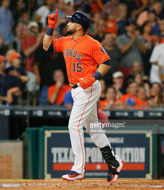 Carlos Beltran of the Houston Astros hits a home run in the sixth inning against the Baltimore Orioles at Minute Maid Park on May 26 2017 in Houston...